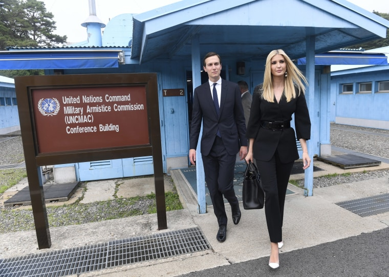 Image: White House Senior Advisors Ivanka Trump and Jared Kushner, walk in the border village of Panmunjom in the Demilitarized Zone, South Korea