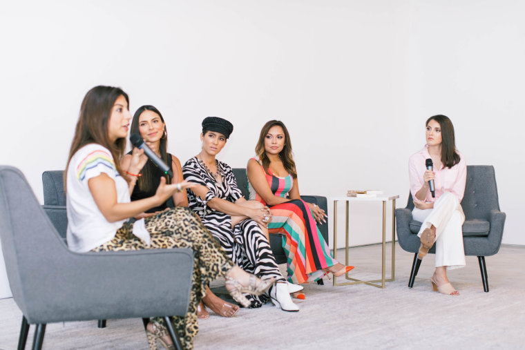 "From left to right: RAW Residency CEO Cristina Sosa, wellness coach Giselle Schreiner, Mujer Balance Founder Andrea Minski, Miami's NBC 6 reporter Kelly Blanco and ""Morning Joe"" producer Daniela Pierre-Bravo on a panel hosted by the Miami millennial women's group RAW Residency on Friday."