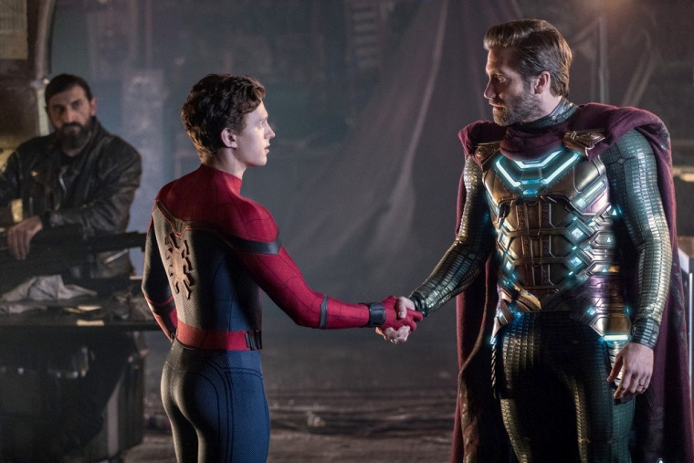 """Image: Tom Holland and Jake Gyllenhaal in \""""Spider-Man: Far From Home.\"""""""