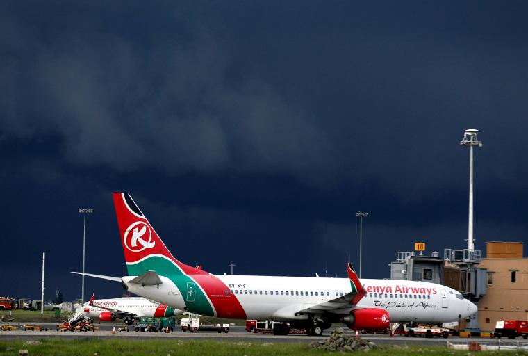 Image: A Kenya Airways plane at the Jomo Kenyatta International Airport on April 28, 2016.