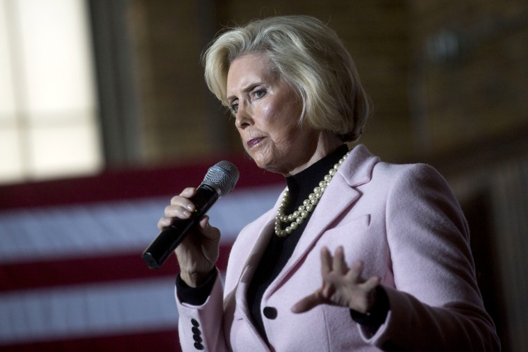 Image: Lilly Ledbetter speaks during a campaign rally for Hillary Clinton in Manchester, New Hampshire, on Feb. 5, 2016.