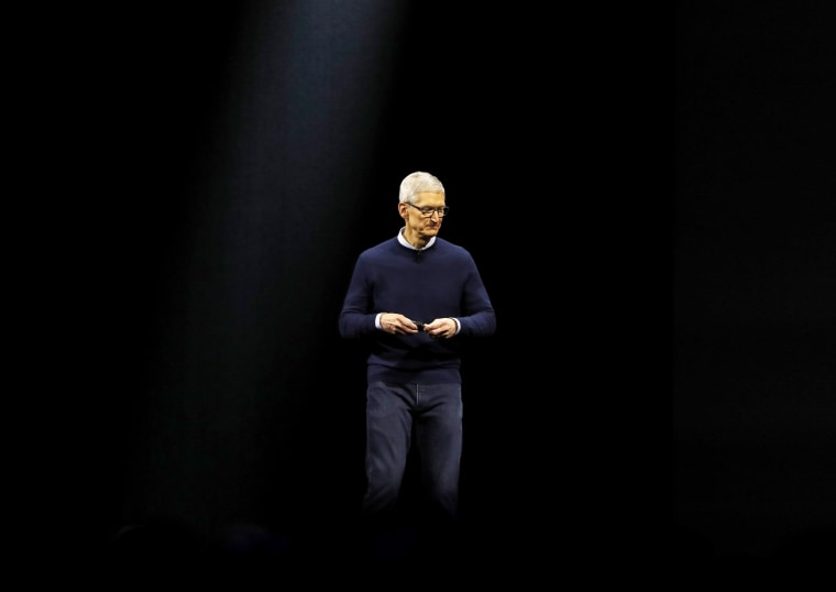 Image: Tim Cook, CEO of Apple, speaks at a conference in San Jose, California, in 2017.