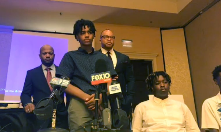 Cameron Robinson, 16, speaks during a news conference about accusations of racial profiling at the Shoppes at Bel Air mall in Mobile, Alabama.