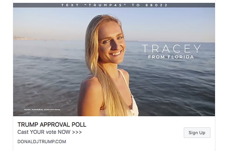 Image: This frame from a series of Facebook video ads for President Donald Trump's re-election campaign shows a model portraying an actual Trump supporter. The people in the videos are all models in stock video footage produced far from the U.S. in France