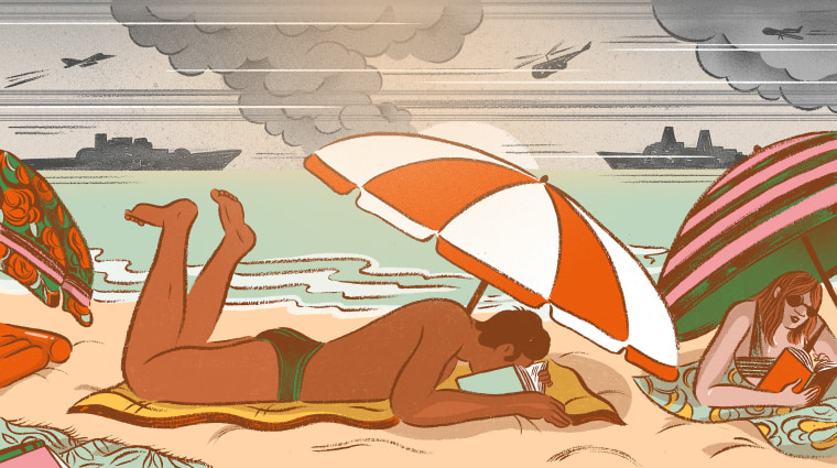 Illustration of people reading on beach while a war goes on around them.