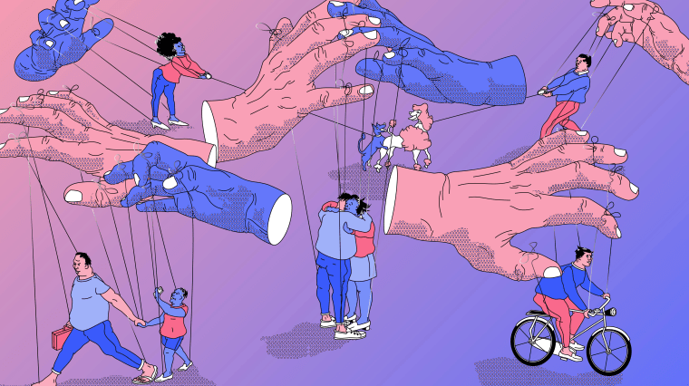 Illustration of hands controlling people like marionettes.