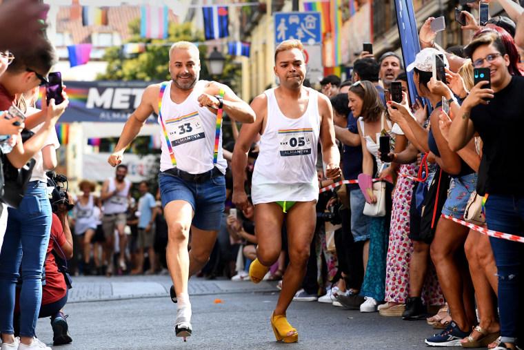 Image: Madrid high heels run