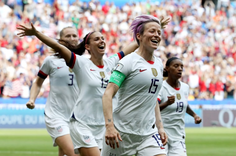 Image: Megan Rapinoe celebrates after scoring a goal in the World Cup final against the Netherlands in Lyon on July 7, 2019.