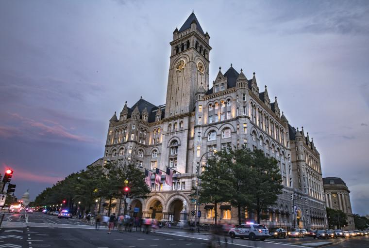 Dusk outside the Trump International Hotel in Washington