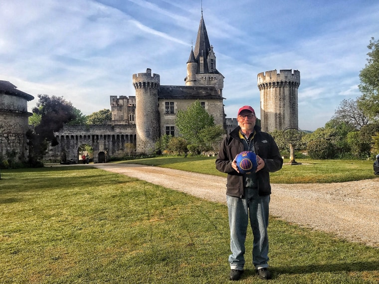 David Kirkpatrick with his soccer ball at writer's conference in France.