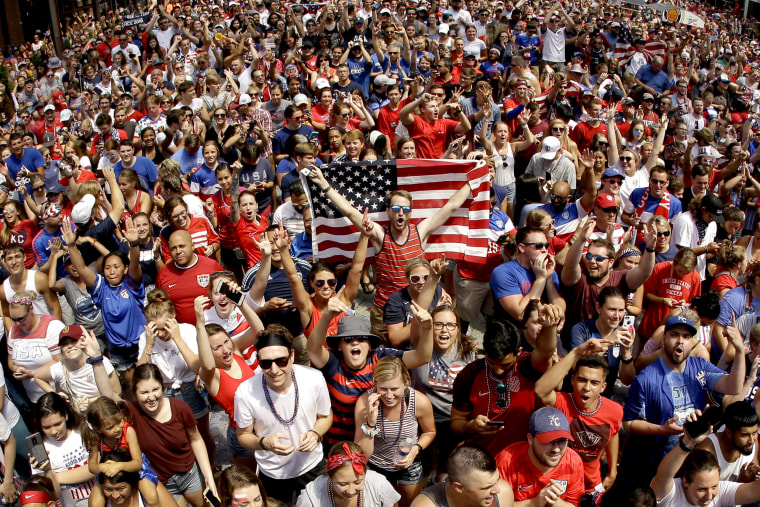 Image: Fans celebrate after the United States defeated the Netherlands in the FIFA Women's World Cup in Kansas City, Missouri, on July 7, 2019.