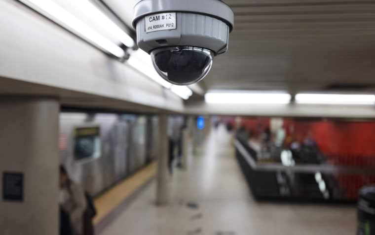 A security camera in a New York subway station on April 4, 2019.