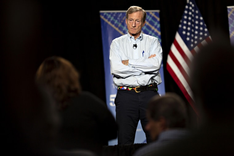 Image: Tom Steyer listens during a town hall event in Ankeny, Iowa, on Jan. 9, 2019.