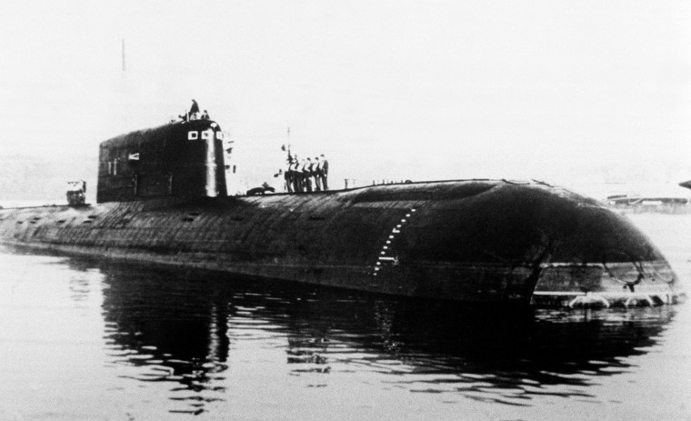 Image: An undated photo of the nuclear-powered submarine Komsomolets, which sank in the Norwegian Sea in 1989.