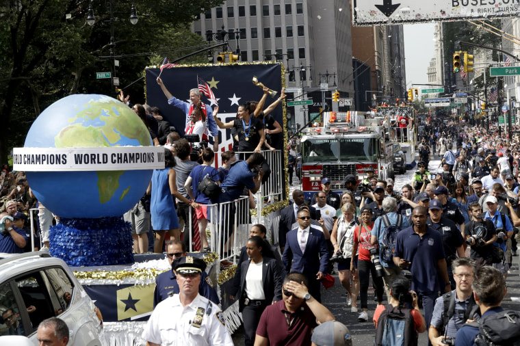 Image: The celebratory float carrying U.S. women's soccer team players and New York Mayor Bill de Blasio makes its way up Broadway during the parade on July 10, 2019.