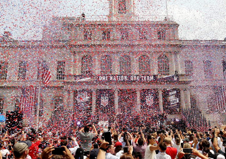 Image: Confetti falls during City Hall celebrations for the U.S. women's soccer team on July 10, 2019.