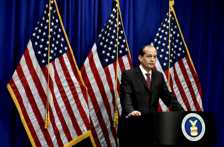 Image: Labor Secretary Alexander Acosta holds a press conference at the Department of Labor on July 10, 2019.