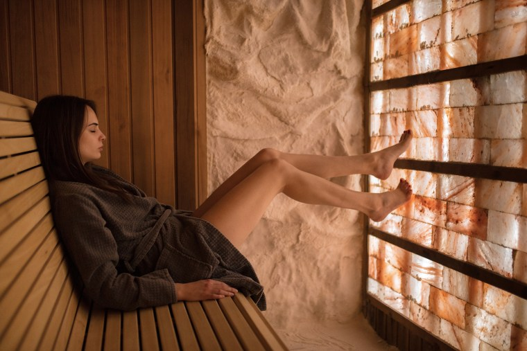 Image: Young woman at sauna