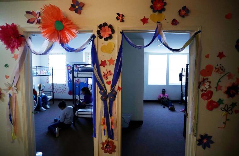 Image: Decorations cover the walls of the rooms of immigrants at the U.S. government's newest holding center for migrant children in Carrizo Springs
