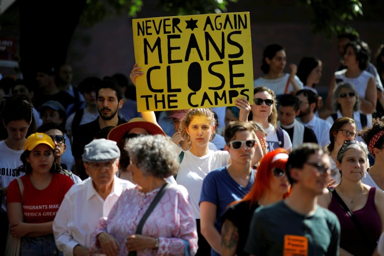 Image: Demonstrators take part in the Never Again Para Nadir protest against ICE Detention camps in Boston