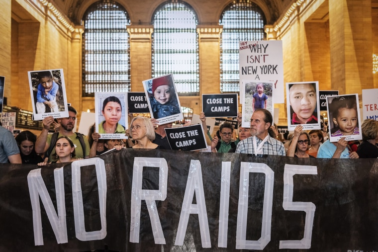 Activists from Rise and Resist hold a silent vigil at Grand Central Station in New York City on July 8, 2019.