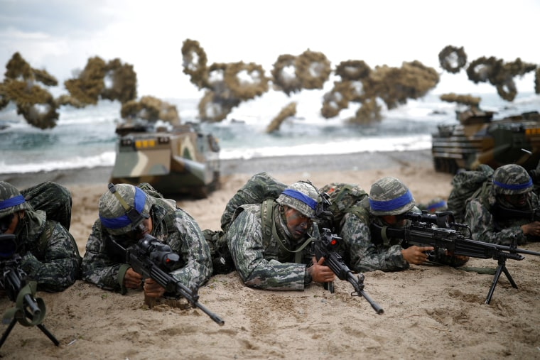 South Korean marines take part in a U.S.-South Korea joint landing operation drill as a part of the two countries' annual military training called Foal Eagle, in Pohang