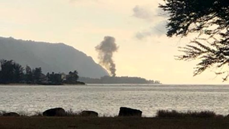 Image: A plume of smoke rises after a plane crash as seen from Kaiaka Bay Beach Park in Hawaii on June 21, 2019.