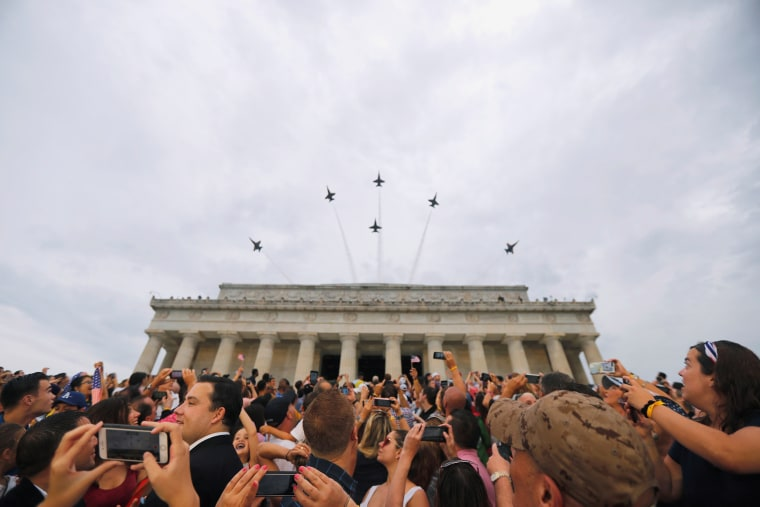 "Image: U.S. Navy Blue Angels perform a flypast at the ""Salute to America"" event during Fourth of July Independence Day celebrations at the Lincoln Memorial in Washington, D.C."
