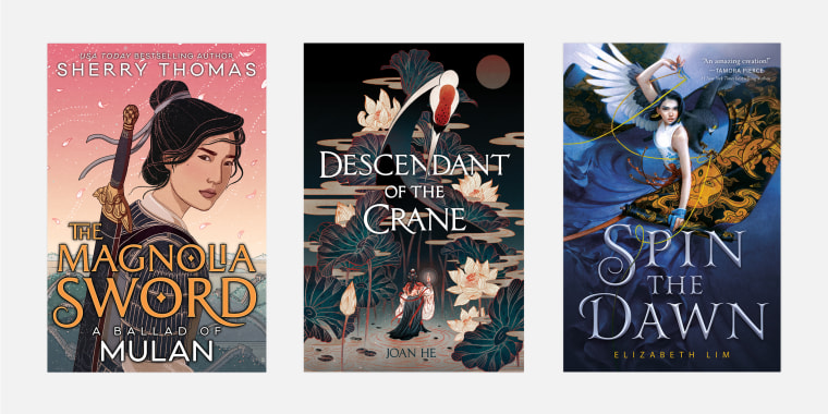 """The Magnolia Sword, A Ballad of Mulan,"" ""Descendant of the Crane,"" and ""Spin the Dawn."""