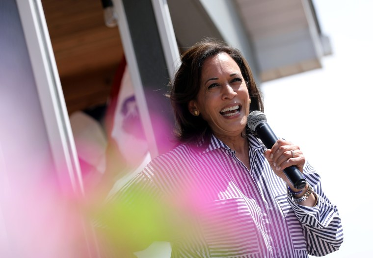 Democratic presidential candidate Kamala Harris in Indianola