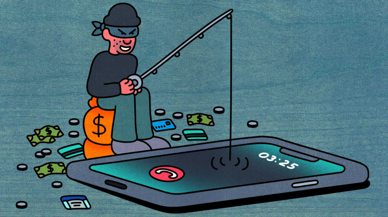 Illustration of thief fishing in a phone.