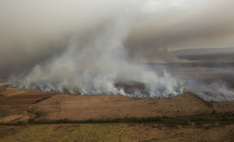 This Thursday, July 11, 2019 photo provided by the County of Maui shows a brush fire that prompted evacuation orders and diverted flights on the island of Maui in Hawaii.