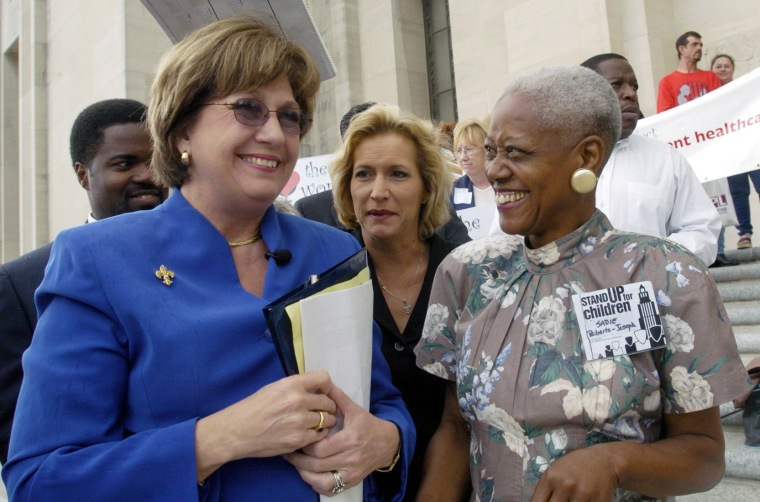 Image: Sadie Roberts-Joseph, right, before the start of  Stand Up for Children rally in Baton Rouge, Louisiana, in 2004.