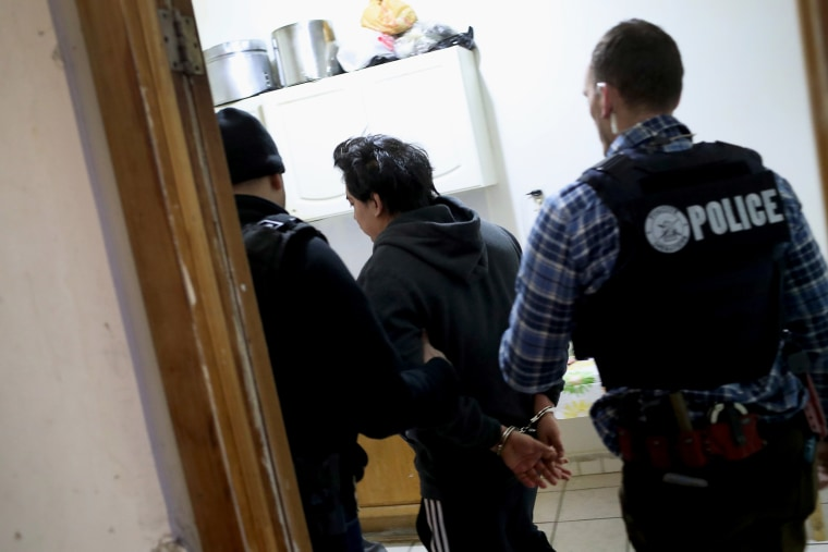 Image: Immigration and Customs Enforcement officers arrest an undocumented immigrant during a raid in Bushwick, Brooklyn, on April 11, 2018.