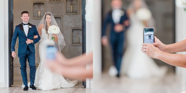 A photographer's split image shows how smartphones ruin wedding photography.