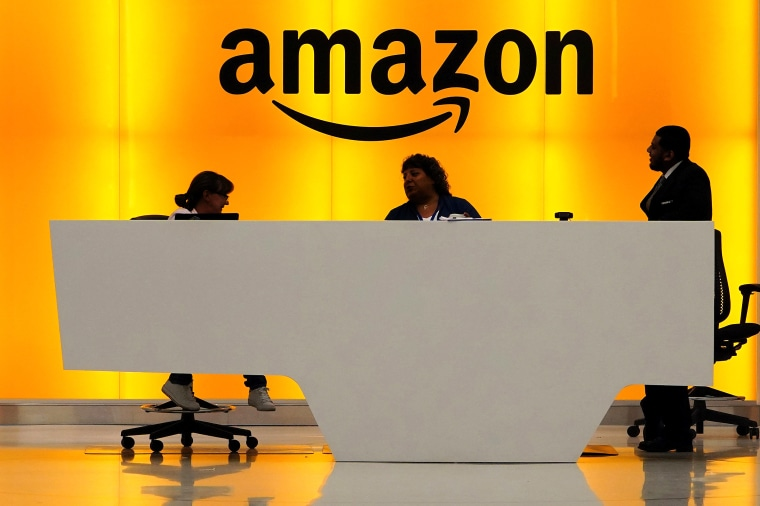 Image: Amazon office front desk pictured in Manhattan, New York