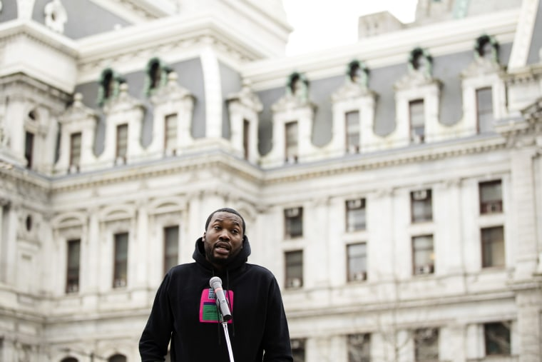 Image: Meek Mill speaks about changes to Pennsylvania's probation system in Philadelphia on April 2, 2019.