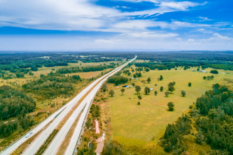 Image: Aerial view of Pacific Highway passing through Collombatti, New South Wales, Australia.