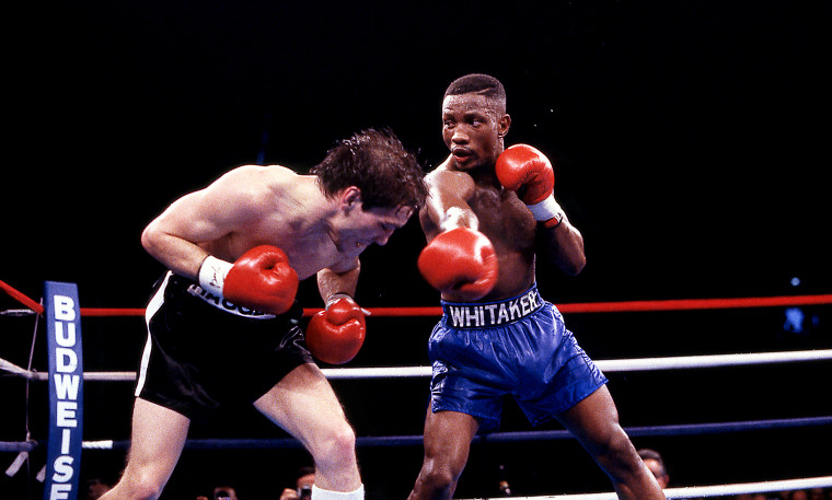 Image: Pernell Whitaker throws a punch against Greg Haugen in Virginia on Feb. 18, 1989.