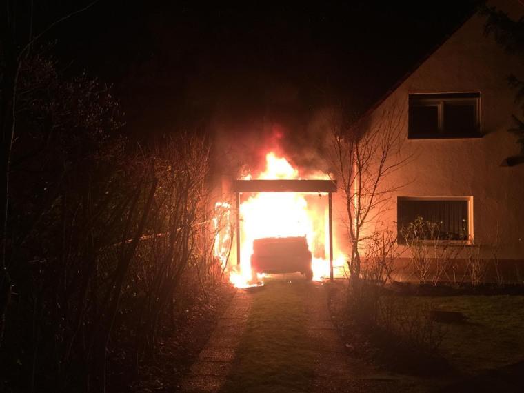 Image: Ferat Kocak's car on fire