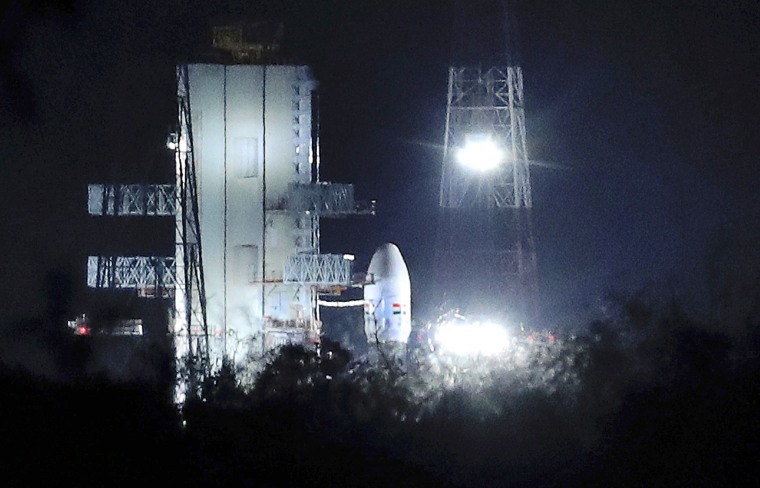 Image: The Indian Space Research Organization's called off the launch of a moon mission on July 15, 2019. The launch-vehicle-system is seen at the launchpad in Sriharikota, India.
