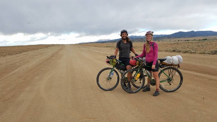 Hannah and Connor Eaton on a bike trip in Wyoming in 2016.