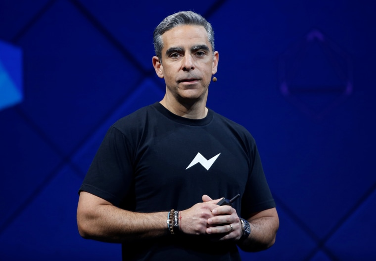 Image: David Marcus, vice president of Messaging Products at Facebook, speaks on stage during the annual Facebook F8 developers conference in San Jose.