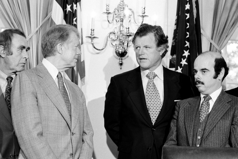 Image: President Jimmy Carter and Sen. Ted Kennedy attend a meeting at the White House in 1979.