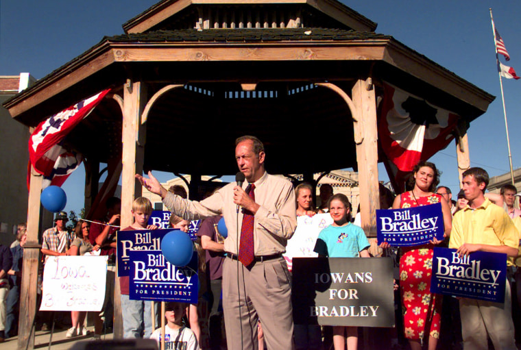 Image: Bill Bradley addresses a crowd in Keokuk, Iowa, on Sept. 9, 1999.