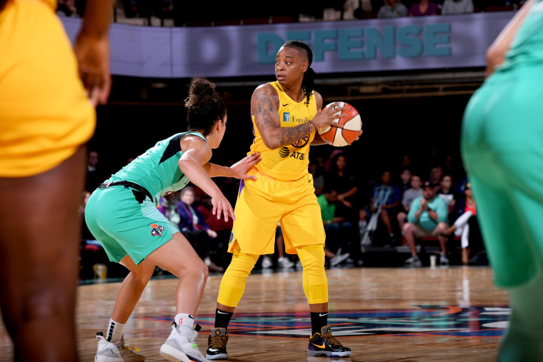 Image: Riquna Williams of the Los Angeles Sparks in a game against the New York Liberty on June 4, 2019.