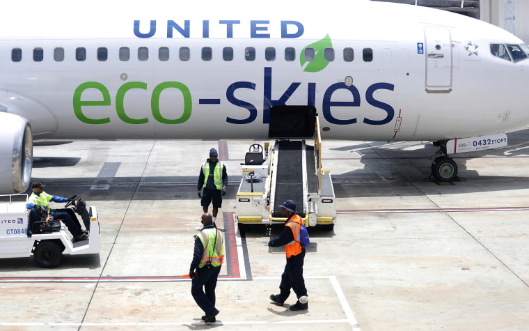 "United Airlines' Ecologically Friendly ""Flight For The Planet"" Arrives At LAX"