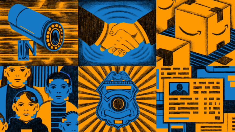 Illustration of surveillance camera, hands shaking, Amazon boxes, facial recognition, a police badge, and an ID card.