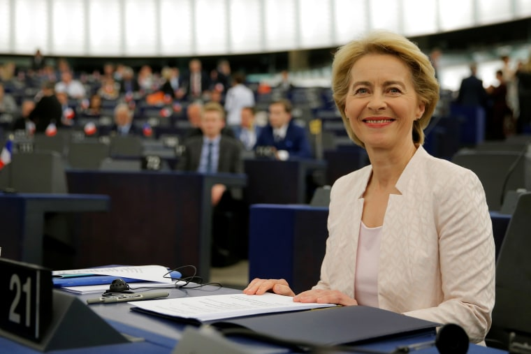 Image: Designated European Commission President von der Leyen arrives to attend a debate on her election at the European Parliament in Strasbourg