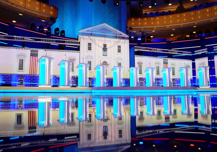Image: The stage of the first 2020 U.S. presidential election Democratic candidates debate is seen in Miami